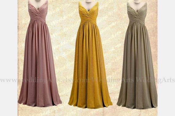 Colors of Fall Bridal Bridesmaid dress FORMAL dress A-line chiffon dress prom dress with straps Shades of green Custom 120 colors Any size on Etsy, $98.00