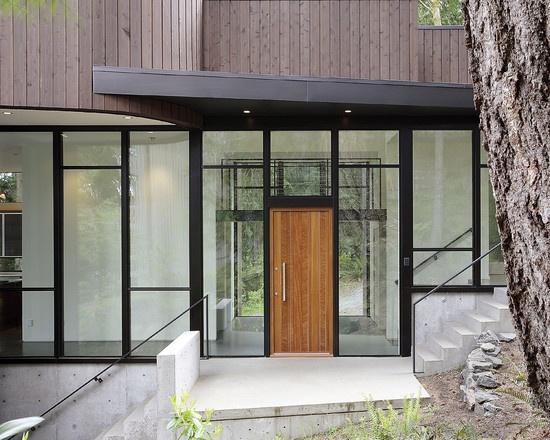 Timber door & black framing
