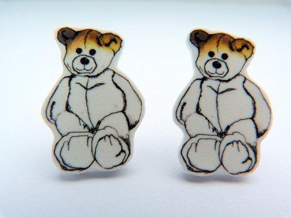 Teddy Bear Earrings Small Plastic Studs Hand Illustrated.
