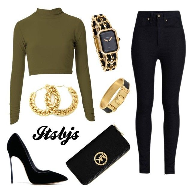 Khaki/black/gold/sexy by itsbjs on Polyvore featuring polyvore, мода, style, Rodarte, Casadei, MICHAEL Michael Kors, Chanel and CC SKYE