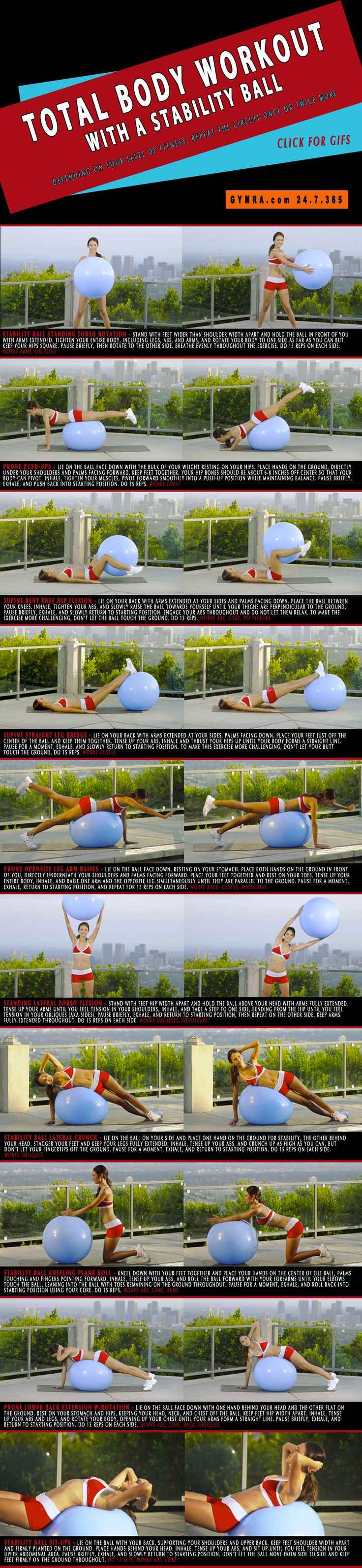 Total Body Workout. This is a beginner's #workout but effective for all levels! A stability ball engages all your #muscles and builds strength while improving stability. There aren't many other #fitness tools that work your entire body better than an #exercise ball will! This total body toner will sculpt you from head to toe while burning major calories and shedding fat! Click on the image to see the moves in GIF form. #weightloss #health #abs