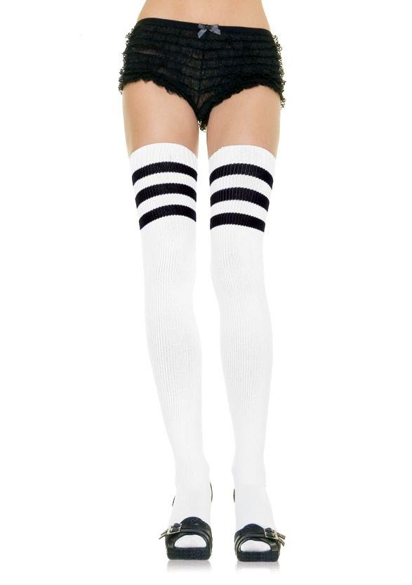 Leg Avenue 3-Stripe Athletic Ribbed Thigh Highs
