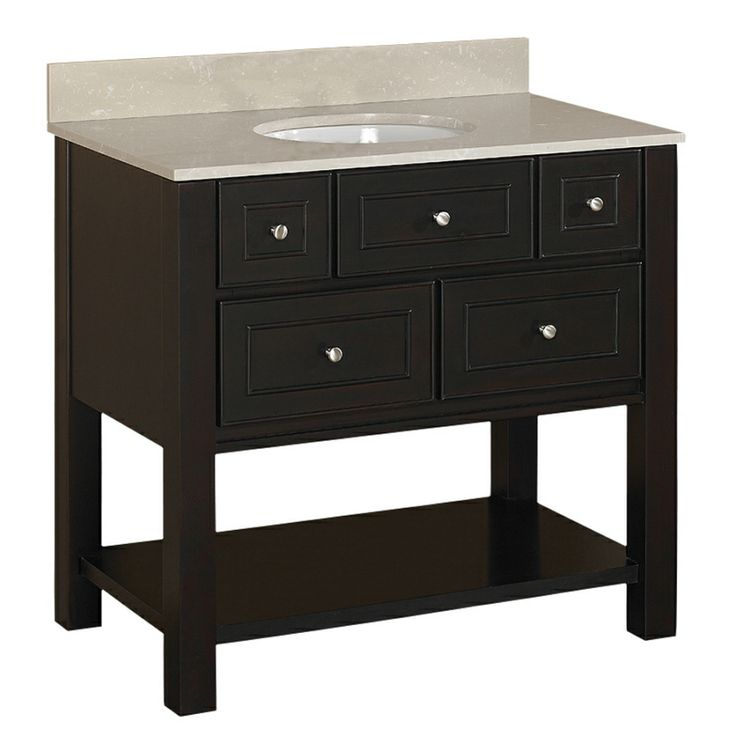 Shop Allen Roth Hagen 36 In X 21 In Espresso Single Sink Bathroom Vanity With Vitreous China