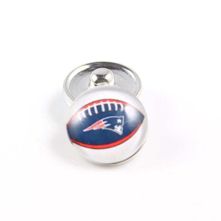 Fashion USA Football Team New England Patriots Snap Button Glass Sports Button Snaps Jewley For Snaps Bracelets 20PCs/lot