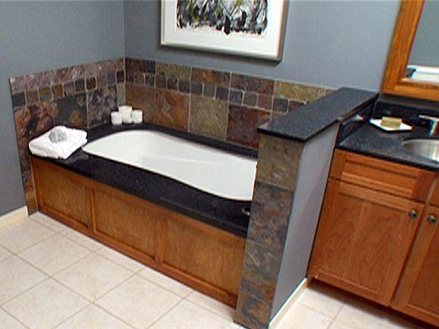 44 best images about bath ideas on pinterest tile bath for Wood tile tub surround