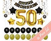 50th BIRTHDAY PARTY DECORATIONS Men: for Man Woman Him Her Balloons Banner Ideas Decor- 50 Year Old – 38″ #50 Gold Balloons/Swirls, 36 Pc Pk