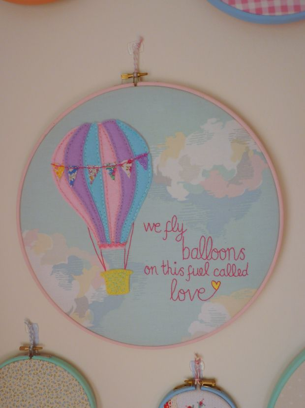 Hot air balloon embroidery hoop featuring tiny Liberty bunting