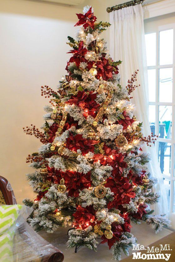 Arbol de navidad decorados en color rojo christmas - Arboles de navidad blanco ...