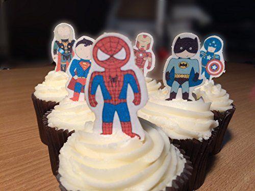 Cakeshop 12 x VORGESCHNITTENE UND ESSBARE aufstehen Superhelden Kuchen topper (Tortenaufleger)