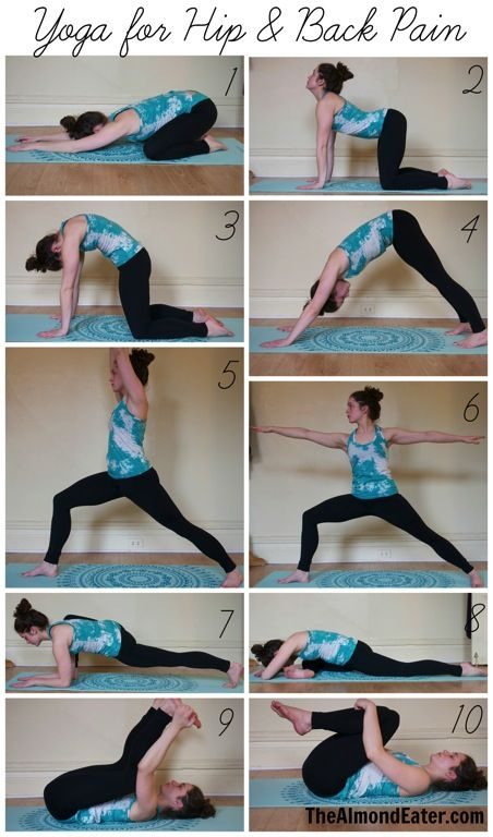 Yoga sequence for hip and back pain. Remember to repeat on both sides.