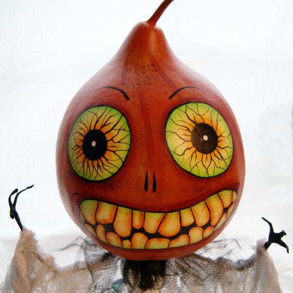 Halloween Gourd Head Figure Haunted Swamp by Hauntedswampdesigns