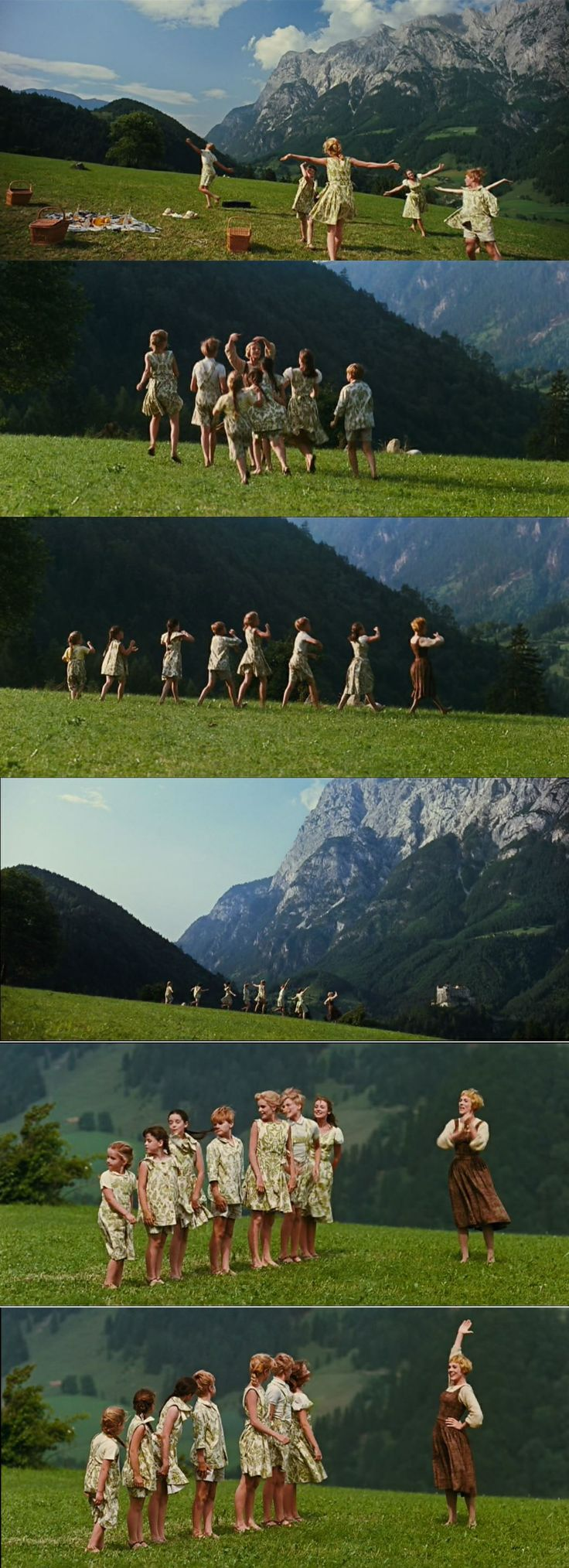 "Maria and the Von Trapp children singing on a beautiful ""stage"" on the hills of Austria in The Sound of Music 1965"