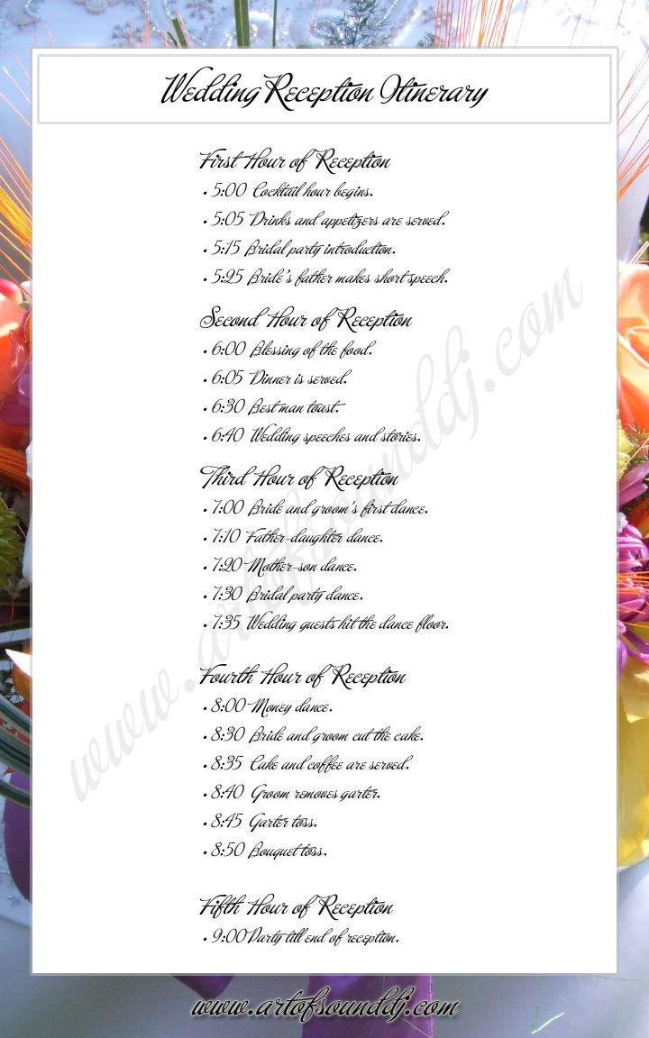 Wedding Reception Itinerary. Great Idea.  Takes the wondering out.