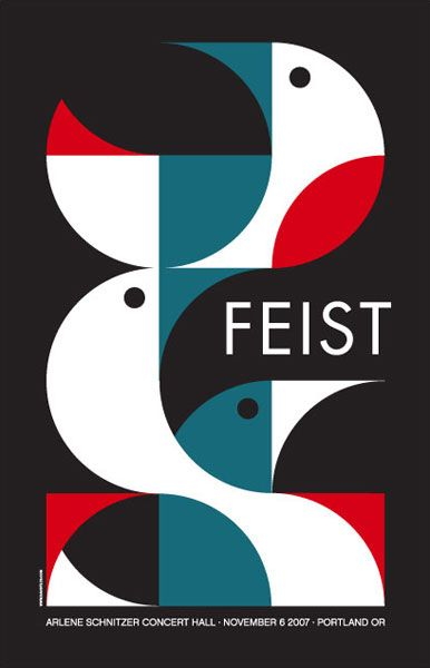 julien-pierre:    Stylised white, blue and red birds on a poster promoting the singer Feist.  by Dan Stiles.