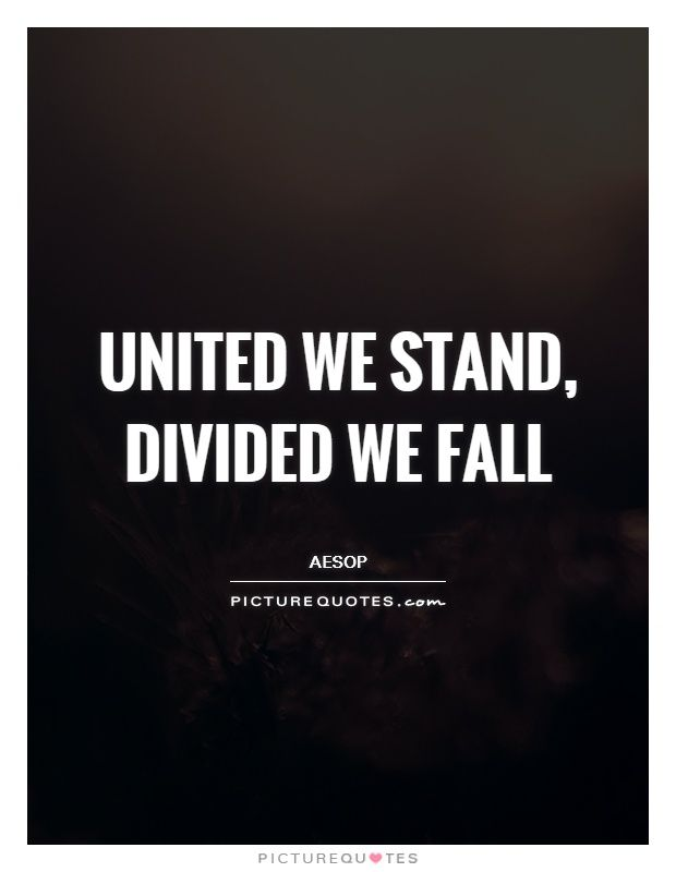 United we stand, divided we fall.