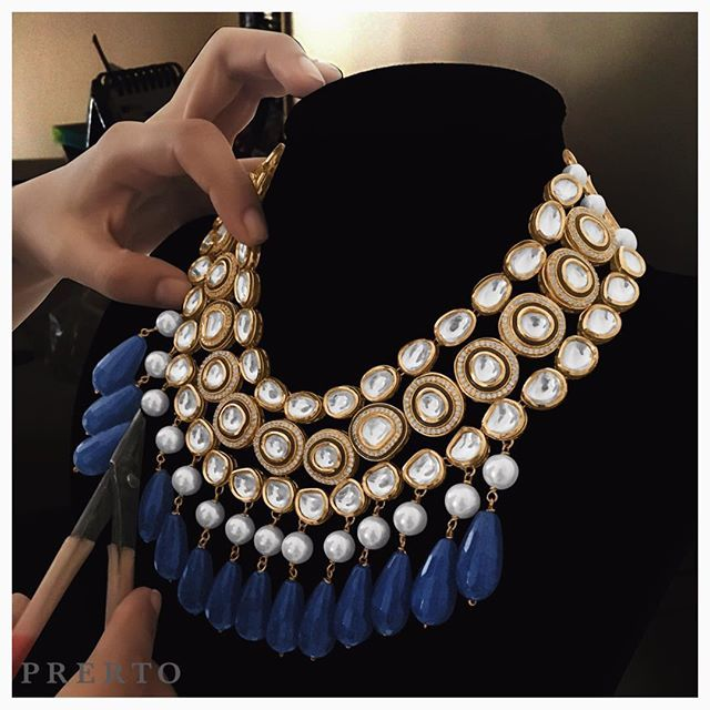 Revisited our #BluePearl Necklace and we're awestruck yet again #ShopNow #Love #Wedding #Fashion #Jewelry #MustHave #Traditional #IndianWedding #Necklace #Choker #Studs #Prerto