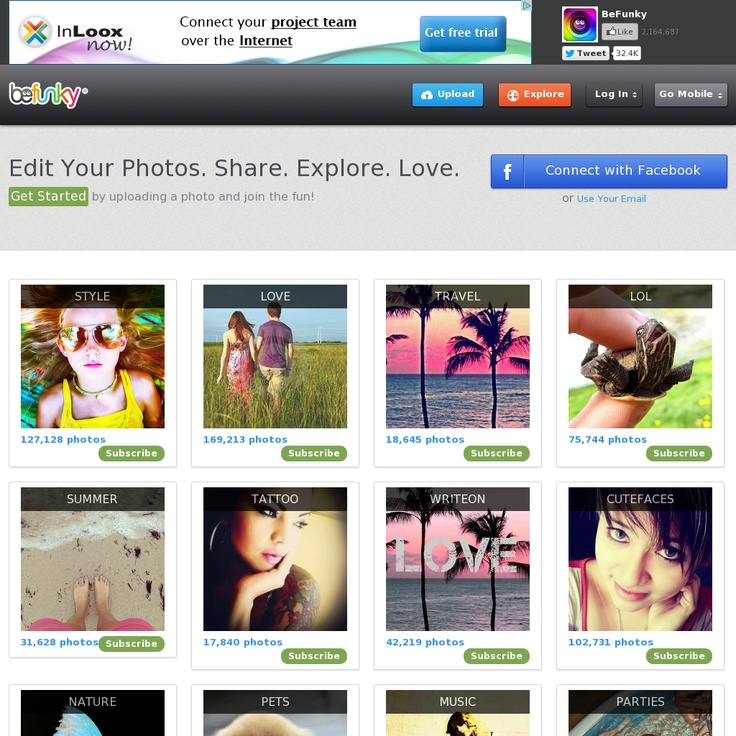 BeFunky connects to all of your online social networks and photo sharing sites and it lets you easily edit, crop, resize and apply a ton of effects to any photo or image you have.