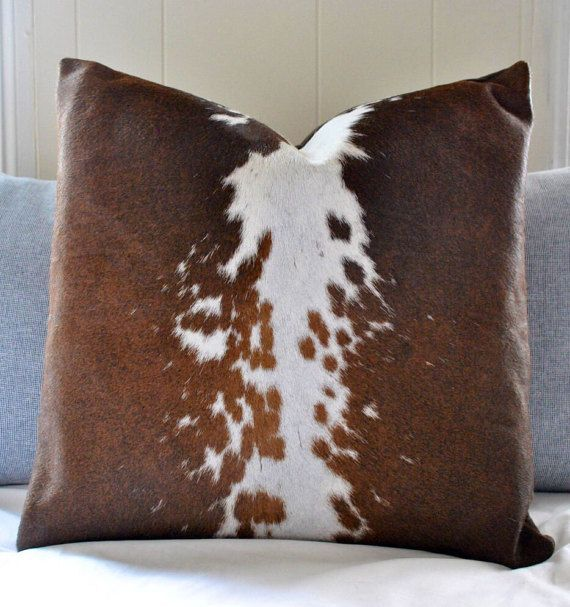 Cowhide Pillow  Large unique brown black speckled and white