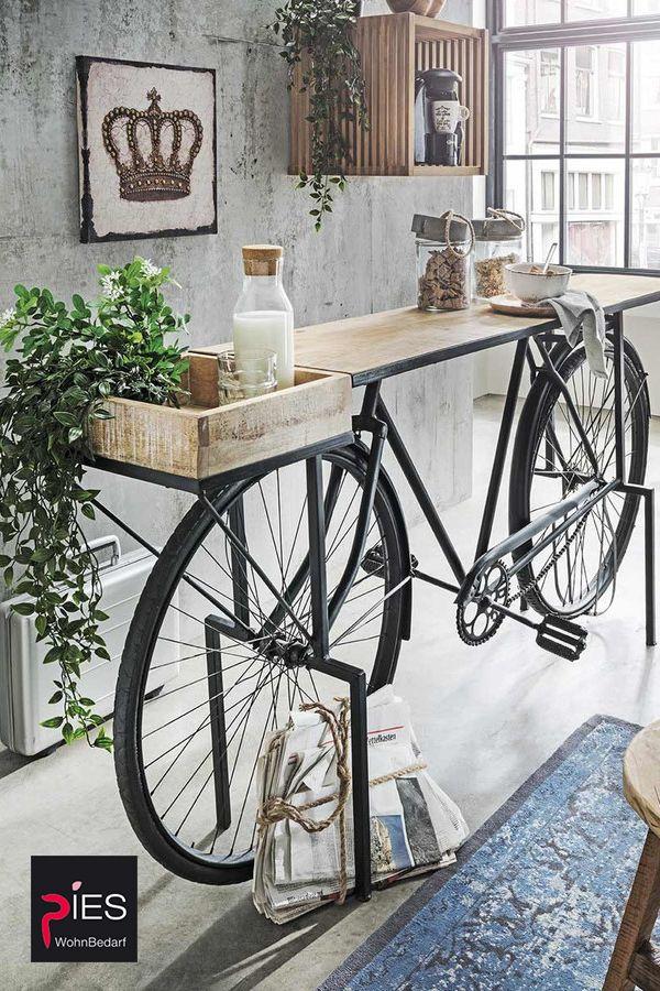 Konsole Fahrrad im Industrie Stil aus Mangoholz und