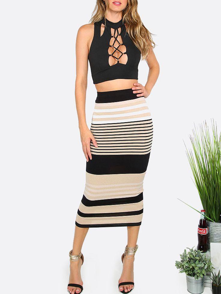 Модная полосатая облегающая юбка