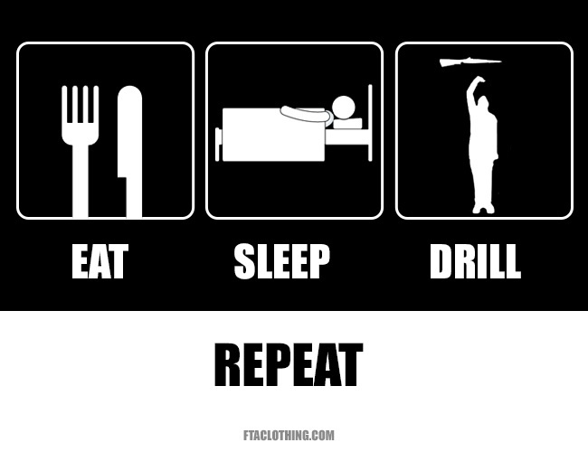 Eat, sleep, drill, repeat.