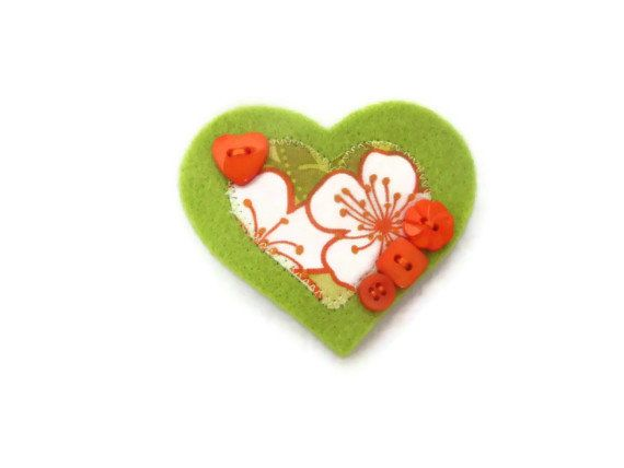 Heart Brooch.  Ladies green jacket pin womens by Fabrilushus, £6.00