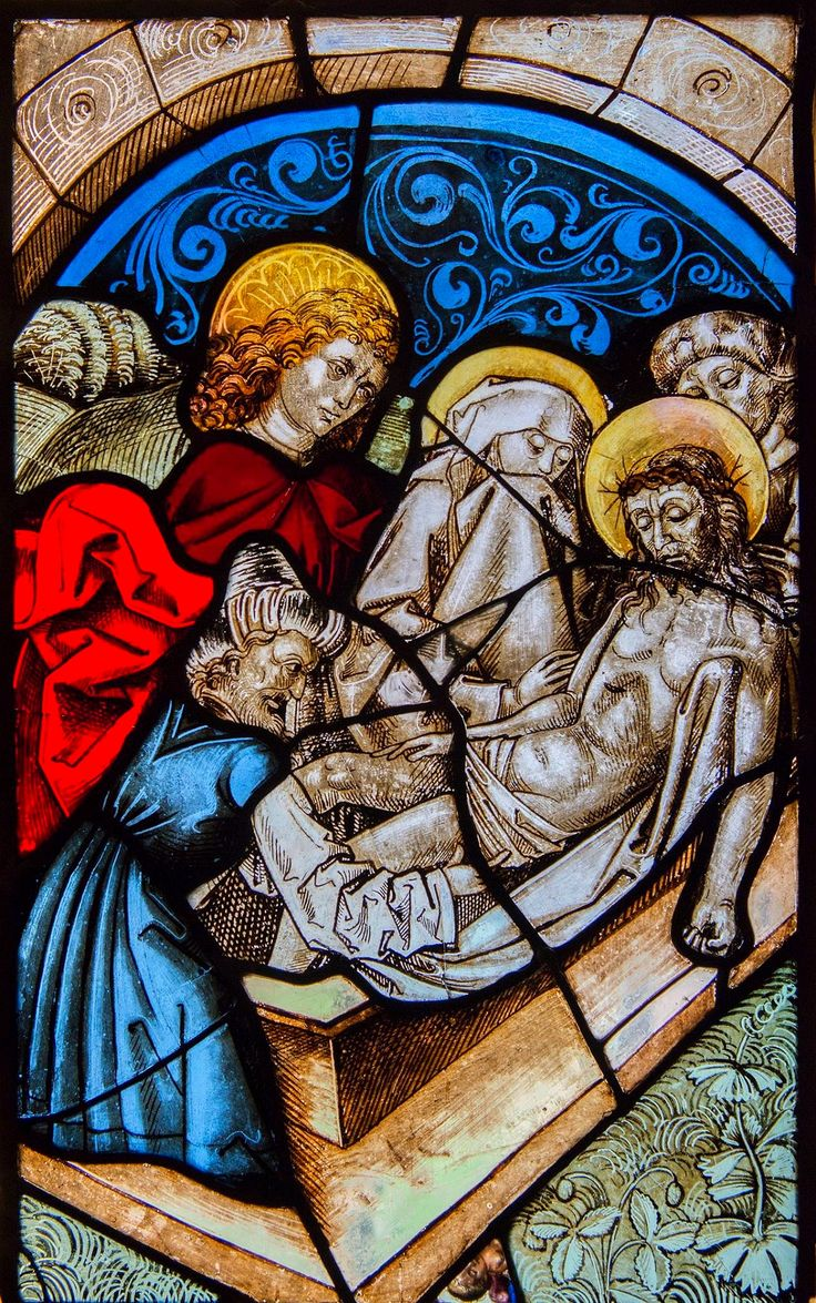 Stained glass window with Entombment of Christ from the Church of Saint Clare in Nuremberg by workshop of Michael Wolgemut, ca. 1480, Muzeum Uniwersytetu Jagiellońskiego (MUJ)