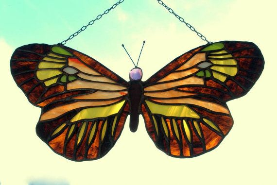 Butterflies Collection - colorful stained glass butterfly by AmberGlassArt. http://niebanalne-prezenty.pl