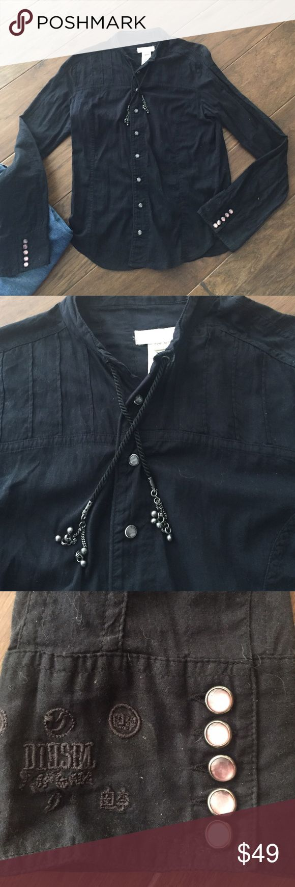 Diesel washed black cotton snap front shirt. 100% light weight Cotton. Has a draw sting neckline that ends with metal chain drop that can jingle a bit 😄. Snap front buttons. 5 matching cuff buttons. A little bit sheer. Great to wear alone or layer with tank. Excellent used condition. Diesel Tops Button Down Shirts
