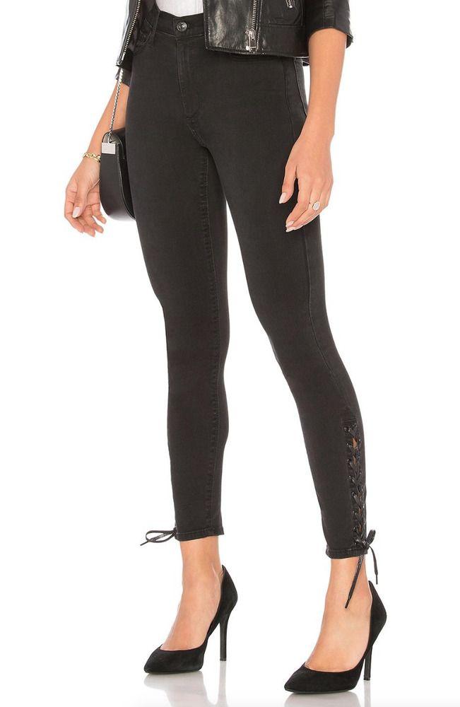 d76bded850b8 BLACK ORCHID Lara Ankle Lace Down High Rise Denim Skinny Jeans Black 27  $211 #BlackOrchid #SlimSkinny