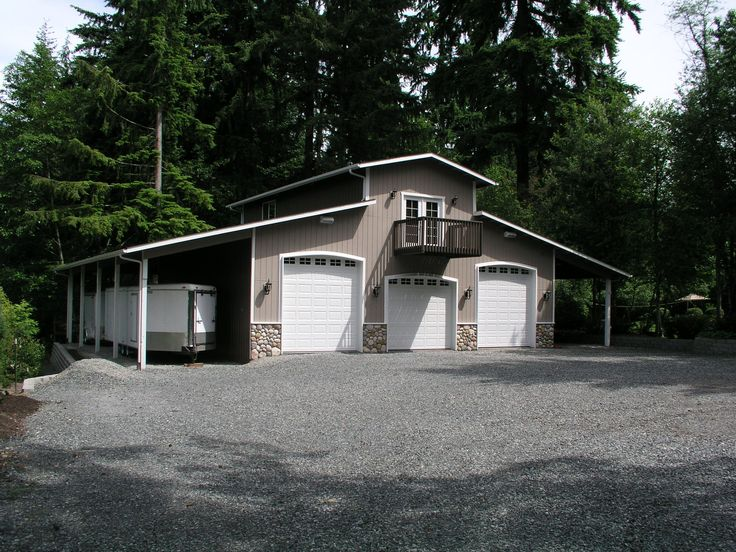 3 car shop plans for rv bay garage with double sided for Pole barns with apartments