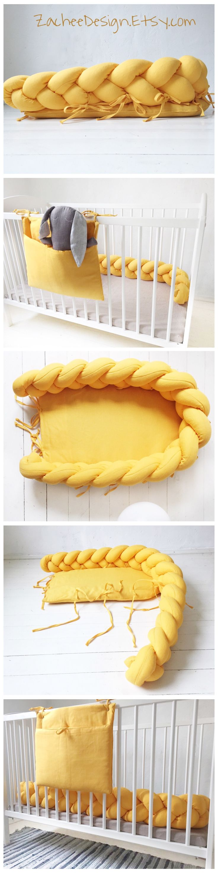 Baby nest 2in1. Made of 100% linen. Transforms into braided crib bumper. Awesome idea. Snuggle your baby into baby nest bed and afterwards put into crib to avoid bumps. But hey, perfect to be used by adults as a decor :) Soft and snuggly.