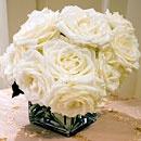 Square vase + roses.