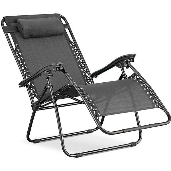 Improvements Zero Gravity Oversized Black Frame Lounge Chair - Black ($100) ❤ liked on Polyvore featuring home, outdoors, patio furniture, adjustable chair, reclining chair, outdoor recliner, outdoor furniture, outdoor chair, lounge chair and folding chair