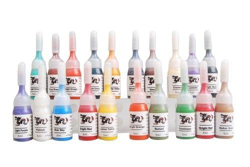 http://stansmarketing.com/tattoo-ink-set-20-color-pigment-supply-5ml16-oz-per-color-di-4-sale-price-19-99/  20-color set Tattoo ink, one bottle per color, 5 ml (1/6 oz) per ink per color:  Medium Brown, Dark Brown, Lemon Yellow, Golden Yellow, Bright Orange, Soft Orange, True Black, Snow White Opaque, Bright Red,  Light Purple, Light Green, Banana Chean, Rose Pink, Kooland, Nahama Blue, Peach, Lo...: Sets 20 Colors, Dark Brown, Rose Pink, 20 Colors Pigment, Bright Orange, Medium Brown, Tattoo Ink, Lemon Yellow, Lights Green