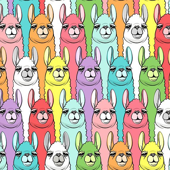 Llama Fabric Rainbow Llamas By Littlearrowdesign Alpaca
