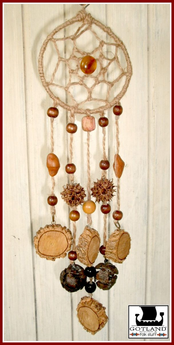 """""""Forest Secrets"""" dreamcatcher- All natural materials: wood, seeds, gems and hemp fiber."""
