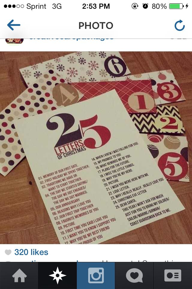 Just did this and sent it to My Marine for an early Christmas gift. 25 days  of letters for the 25 days of Christmas | My Love | Pinterest | Christmas,  ... - Just Did This And Sent It To My Marine For An Early Christmas Gift