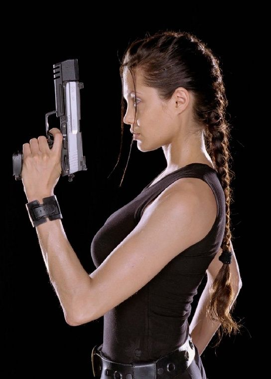 angelina jolie as tomb raider lara croft (tombradier) -- french braid side profile / gorgeous badass chick up-do