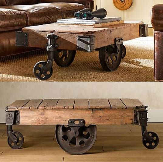 Old factory cart makes an awesome coffee table!!!  We have them at Appalachian Antique Hardwoods!!