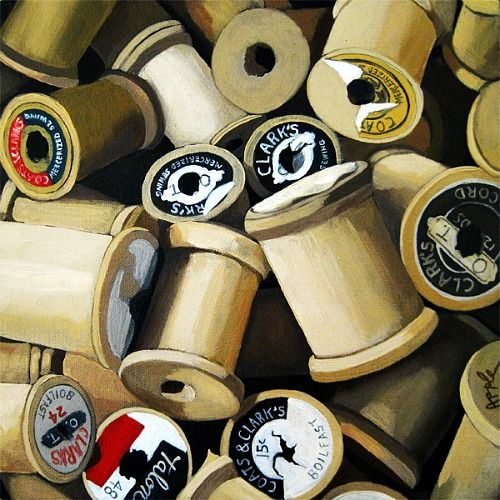 Linda Apple  Vintage Wooden Thread Spools  2012