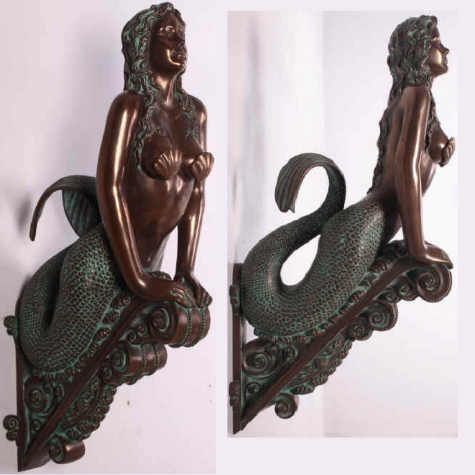 Mermaid Figureheads   verde mermaid with shells hx081ws hx081 marinea sea siren figurehead ...