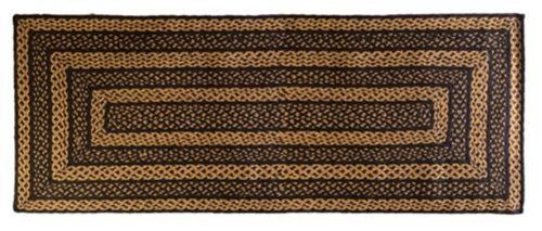 """Farmhouse Star Braided Jute Rug, Rectangular - Rect 27""""x72"""" by Victorian Heart. $54.95. 27""""x72"""". Braided Jute. Extensive line of Farmhouse Star quilts and accessories available!. Spot Clean Only. This braided jute rug features tones of black, tan and cremes. Coordines with our jute tabletop and our extensive Farmhouse Star Collection."""