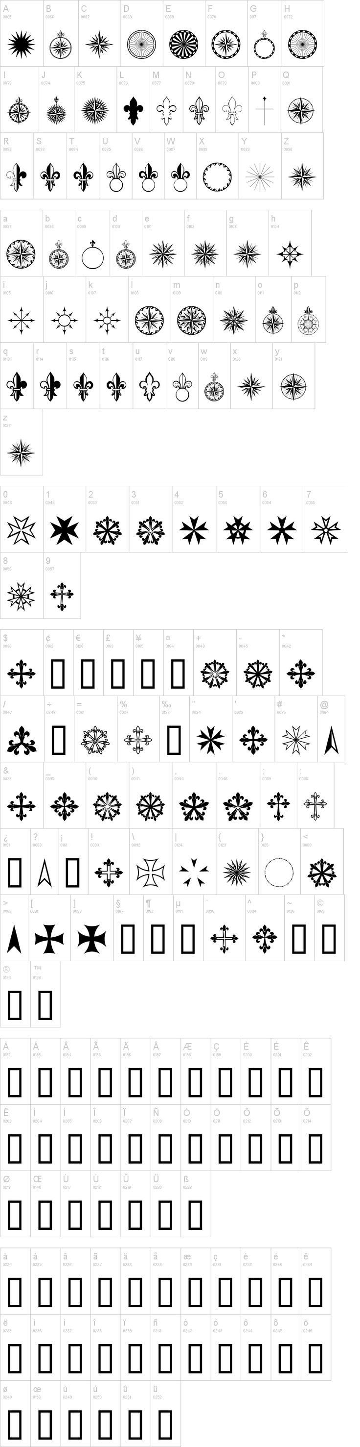 Dingbats - PR Compass Rose Font | dafont.com. Classic compasses, scrolls, fleur de lis. Would be great for travelogues or Boy Scouts.