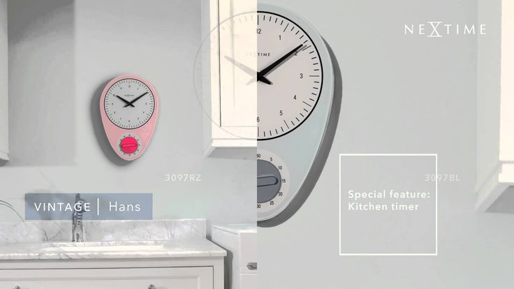 NeXtime - Hans -  3097BL / 3097RZ This vintage style clock with its vintage color is inspired by the classic American kitchen clock with the kitchen timer. We made it into a new design in glass which fits any kitchen. Available in blue and pink.