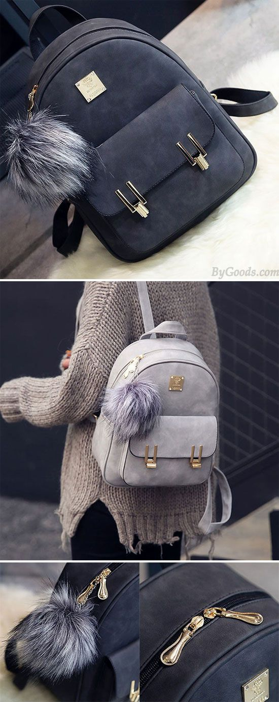 Fashion Frosted PU Zippered Backpack With Metal Lock Match School Bag  Backpack for big sale! 7d121df792446