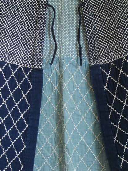 The lining is of a beautiful, asagi, or sky blue, indigo dyed cotton.