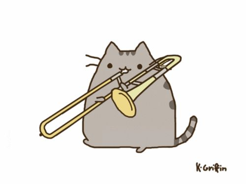 Finals week for music majors... spot on. plus....cat playing trombone. squee :)