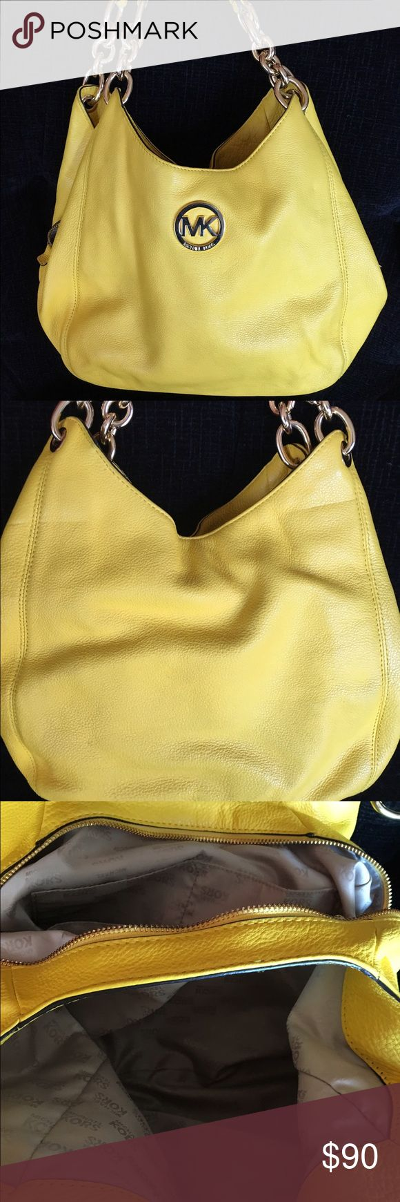 """Michael Kors 'Fulton' bag - Yellow! Bright yellow MK pebbles leather bag. In very good used condition! Gold hardware and in side in excellent condition. Outside has a few very faint smudges but hardly noticeable. 12""""w x 13""""h x 4""""deep. Handle has 9"""" drop. Inside has 3 sections with lots of pockets ! Price reflects the outside condition. Michael Kors Bags"""