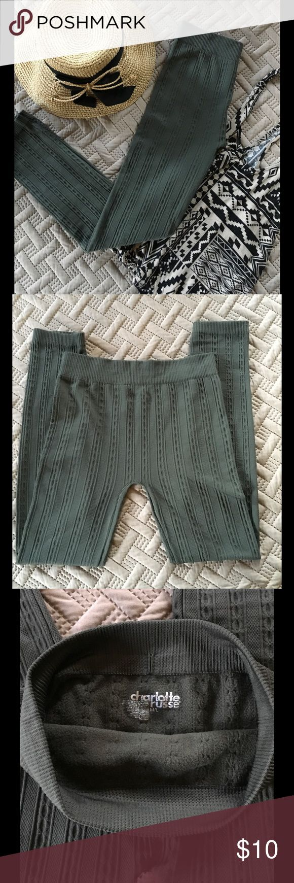 Olive Green Fleece Leggings High Waist New No Tags Olive green fleece leggings, super comfy, warm and soft. Size fits M/L. Material is polyester and spandex machine washable LMK if you have any questions. Price is Firm on this item. Charlotte Russe Pants Leggings